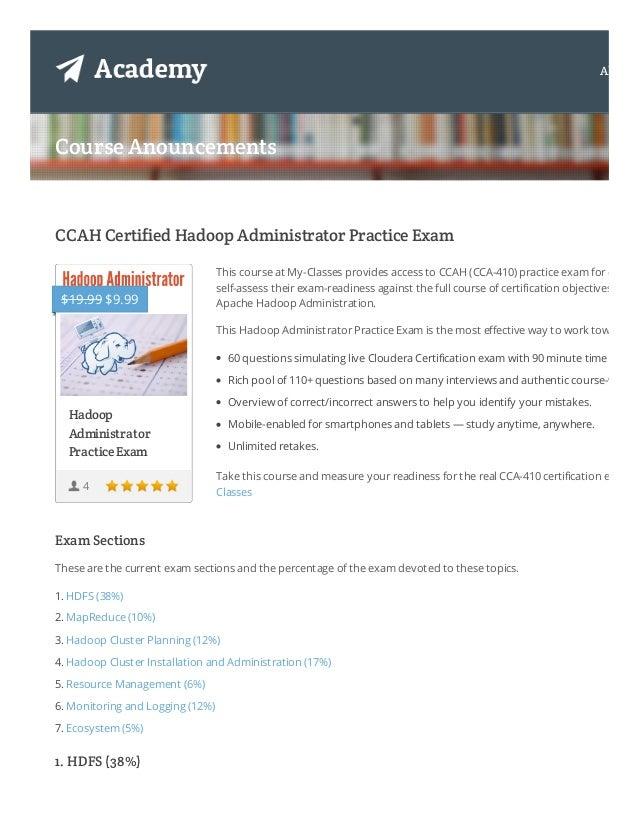 CCAH CCA-410 Hadoop administrator Certification exam Sample test / Qu…