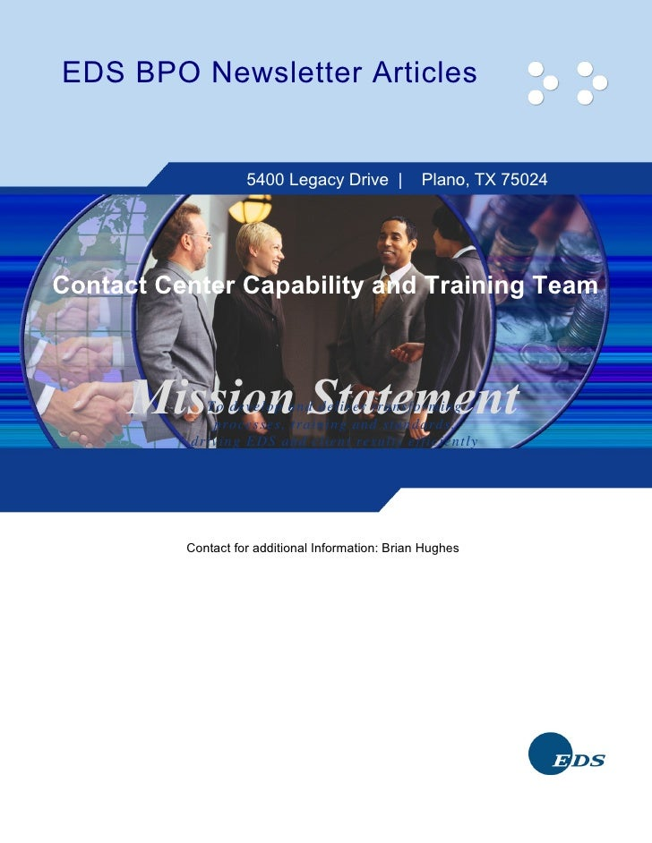 EDS BPO Newsletter Articles      Articles Written by the BPO Process                        and Training Team             ...