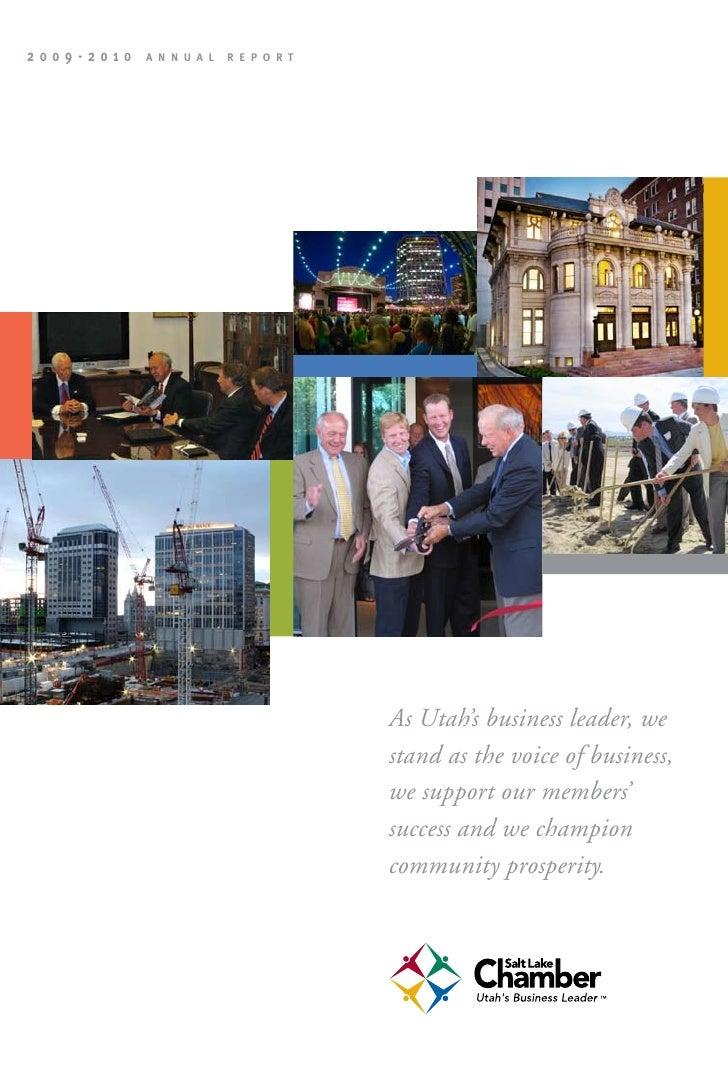 2009-2010   A n n u A l   R e p o R t                                             As Utah's business leader, we           ...
