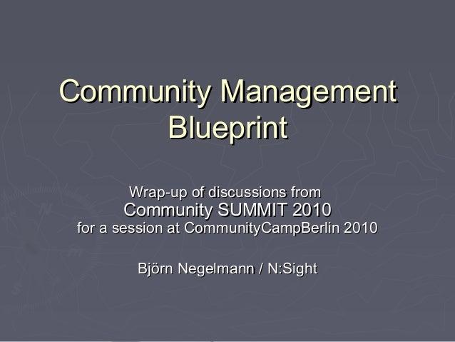 Community ManagementCommunity Management BlueprintBlueprint Wrap-up of discussions fromWrap-up of discussions from Communi...