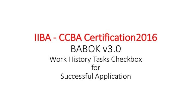 Ccba certification work history successful application