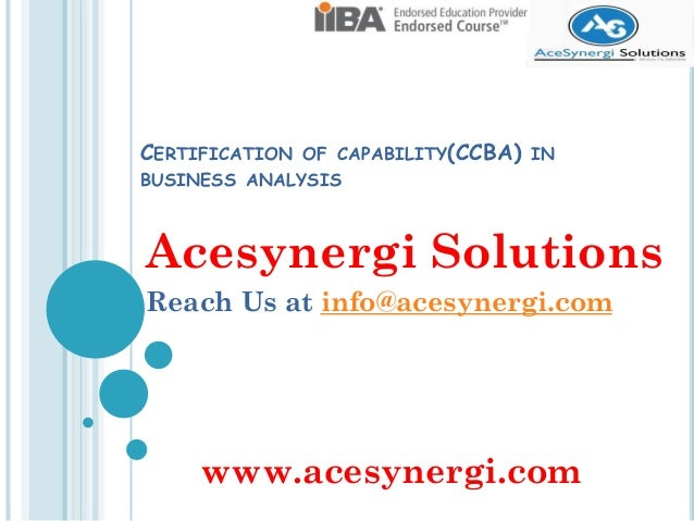 Business Analysis Certification Ccba introduction
