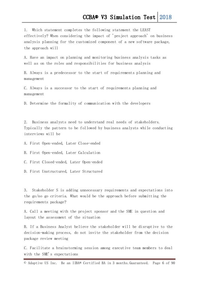 FREE CCBA v3 simulation Questions -set-1