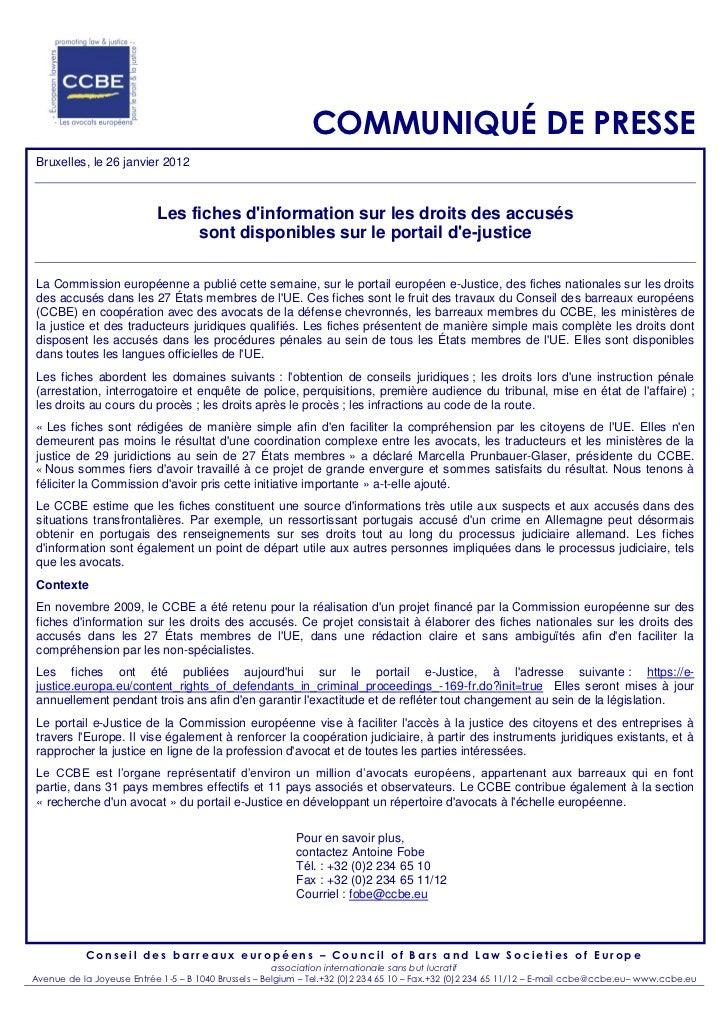 COMMUNIQUÉ DE PRESSE Bruxelles, le 26 janvier 2012                           Les fiches dinformation sur les droits des ac...