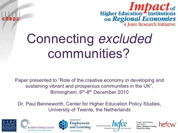 "Connecting excluded        communities?Paper presented to ""Role of the creative economy in developing and    sustaining vi..."
