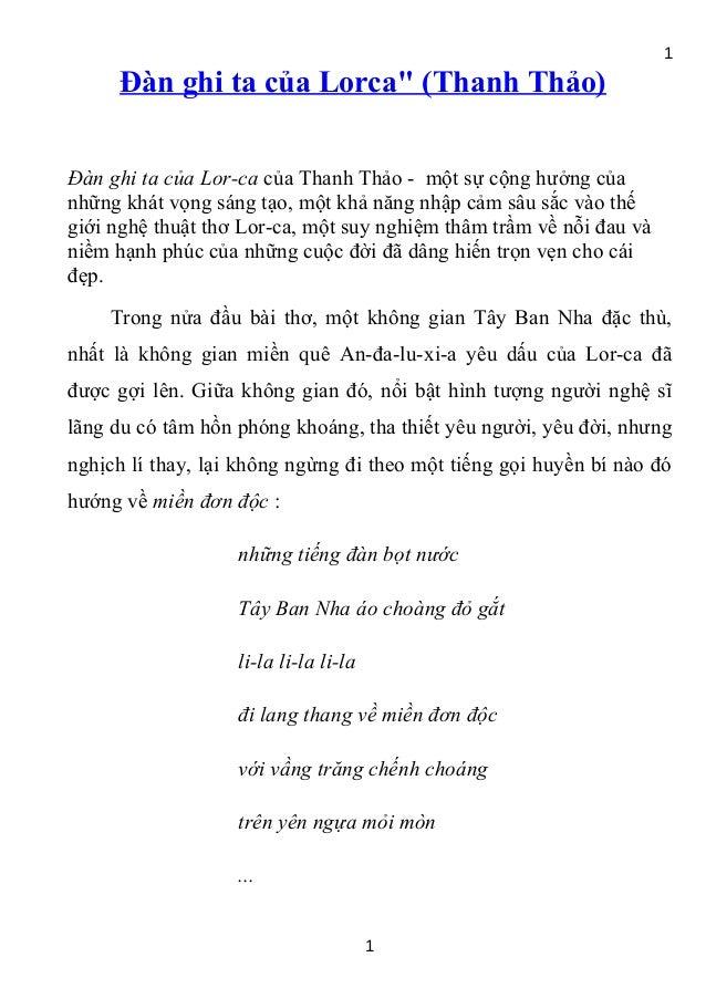 """1     Đàn ghi ta của Lorca"""" (Thanh Thảo)Đàn ghi ta của Lor-ca của Thanh Thảo - một sự cộng hưởng củanhững khát vọng sáng t..."""