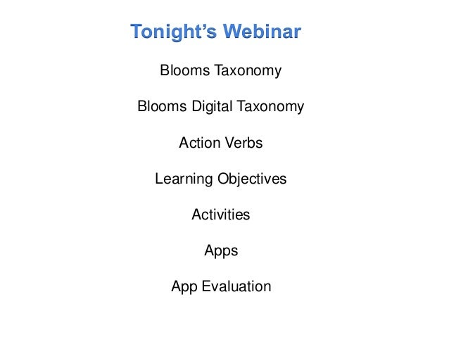 Blooms Taxonomy and iPads