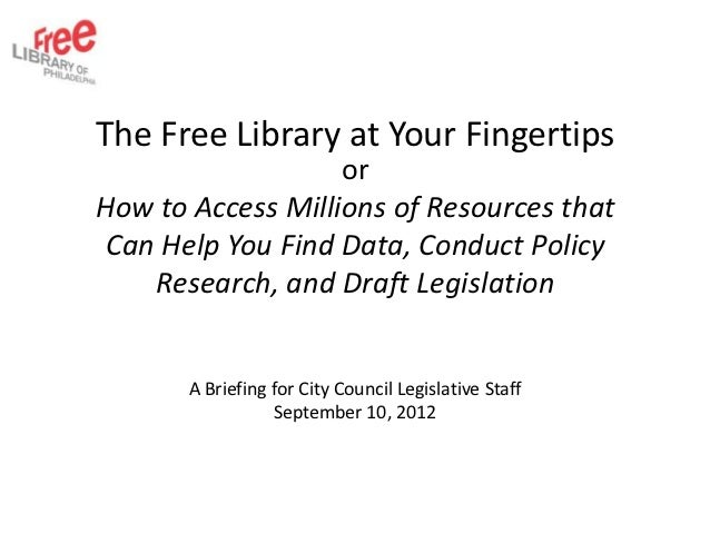The Free Library at Your Fingertips                   orHow to Access Millions of Resources that Can Help You Find Data, C...