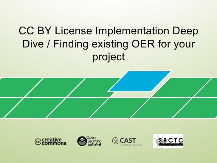 CC BY License Implementation DeepDive / Finding existing OER for your               project
