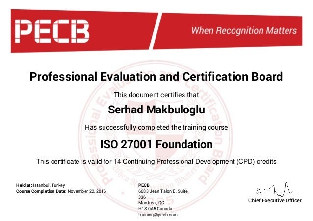 Professional Evaluation and Certification Board This document certifies that This certificate is valid for 14 Continuing P...