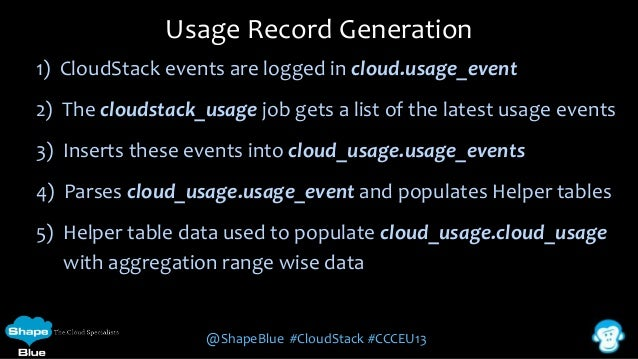 Usage Record Generation 1) CloudStack events are logged in cloud.usage_event  2) The cloudstack_usage job gets a list of t...