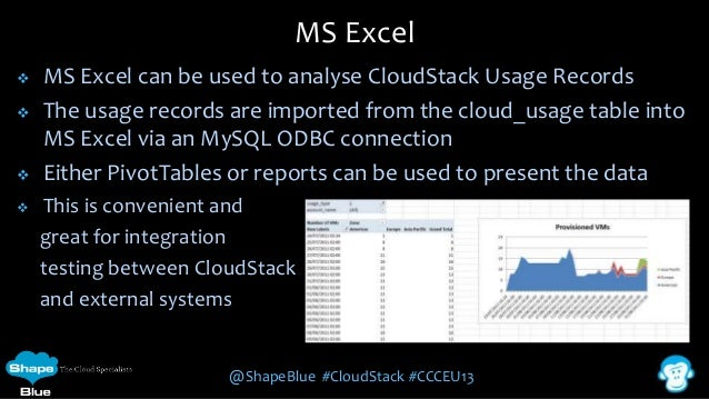 MS Excel       MS Excel can be used to analyse CloudStack Usage Records The usage records are imported from the cloud_...