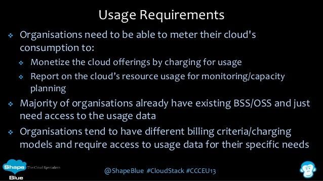 Usage Requirements   Organisations need to be able to meter their cloud's consumption to:        Monetize the cloud o...