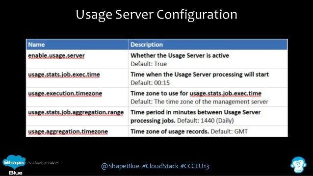 Usage Server Configuration  @ShapeBlue #CloudStack #CCCEU13
