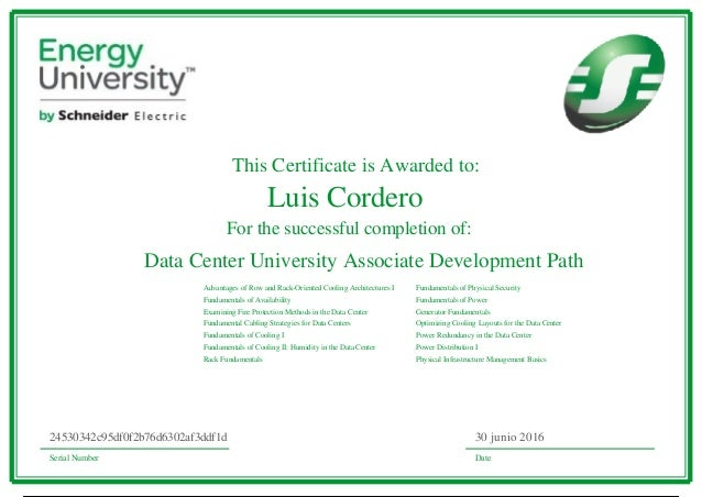 This Certificate is Awarded to: For the successful completion of: Data Center University Associate Development Path Advant...