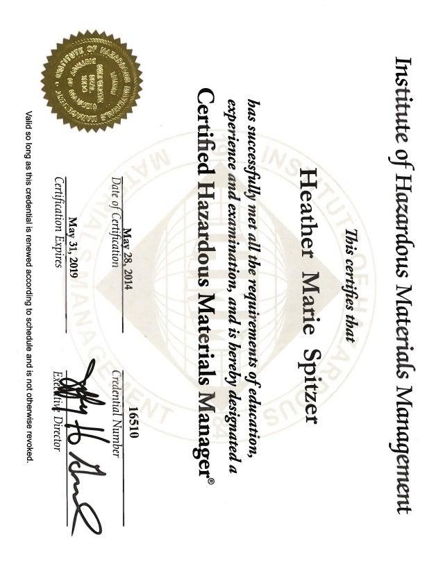 Heather_Spitzer-_Resume & CHMM & ISO Cert