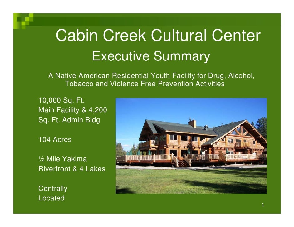 Cabin Creek Cultural Center                 Executive Summary    A Native American Residential Youth Facility for Drug, Al...