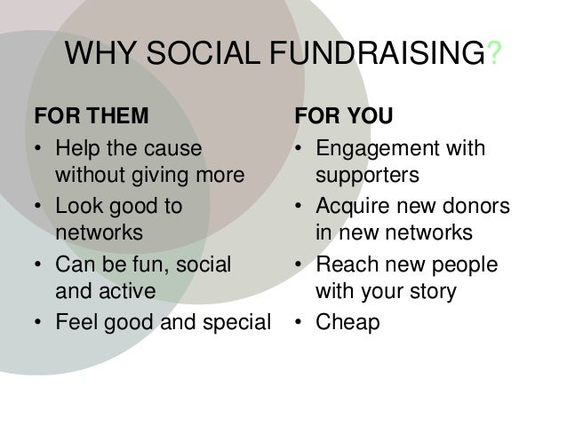 WHY SOCIAL FUNDRAISING? FOR THEM • Help the cause without giving more • Look good to networks • Can be fun, social and act...