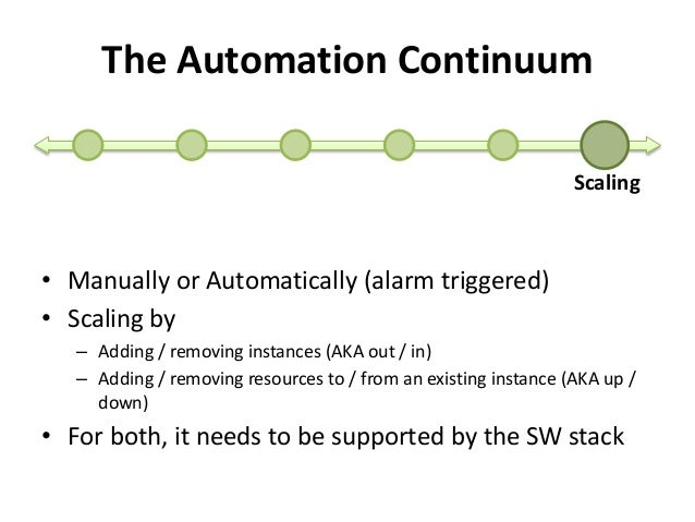 The Automation Continuum  Scaling  • Manually or Automatically (alarm triggered)  • Scaling by  – Adding / removing instan...
