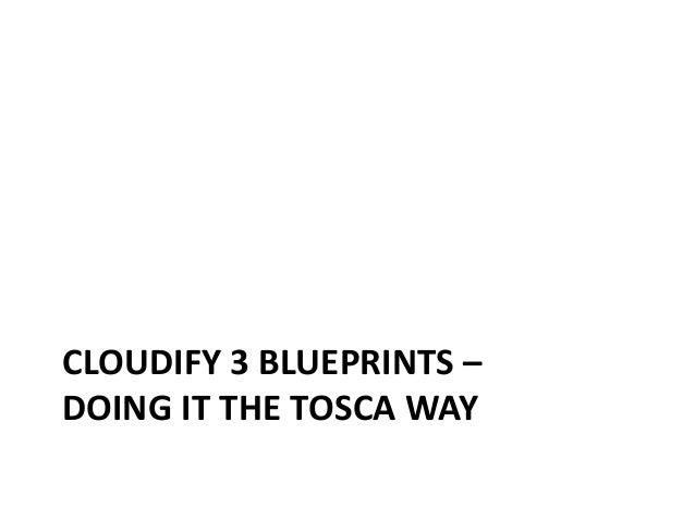 CLOUDIFY 3 BLUEPRINTS –  DOING IT THE TOSCA WAY