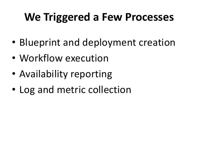 We Triggered a Few Processes  • Blueprint and deployment creation  • Workflow execution  • Availability reporting  • Log a...