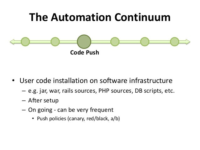 The Automation Continuum  Code Push  • User code installation on software infrastructure  – e.g. jar, war, rails sources, ...