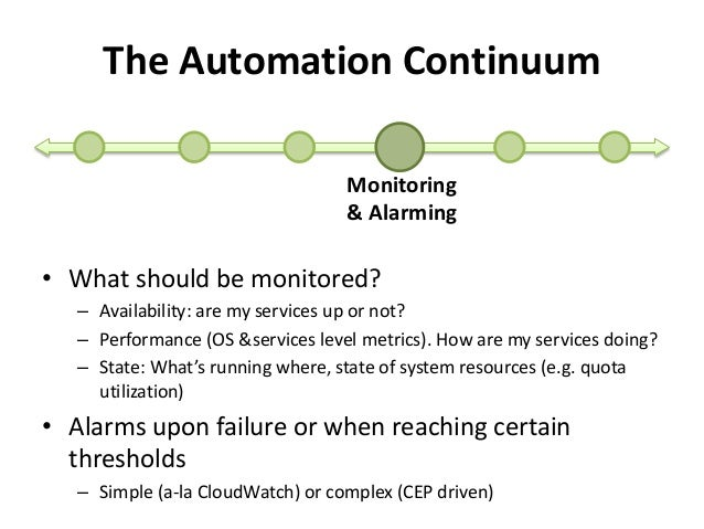 The Automation Continuum  Monitoring  & Alarming  • What should be monitored?  – Availability: are my services up or not? ...