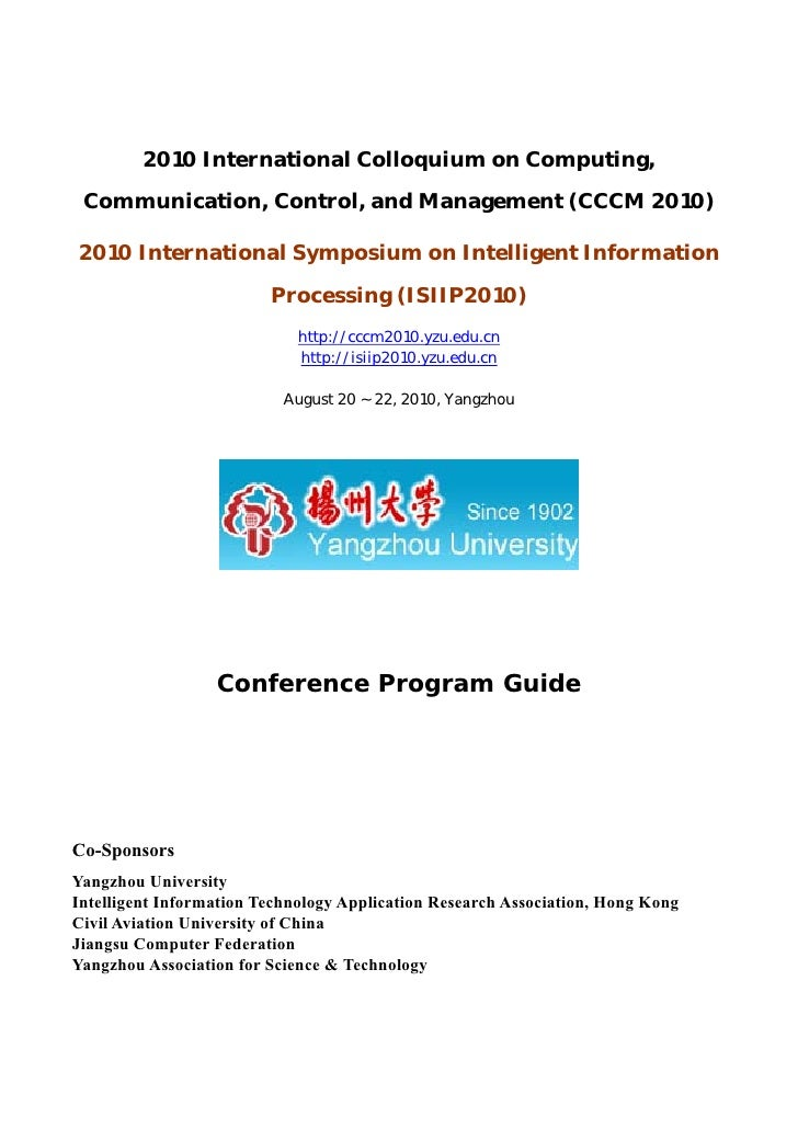 2010 International Colloquium on Computing, Communication, Control, and Management (CCCM 2010)2010 International Symposium...