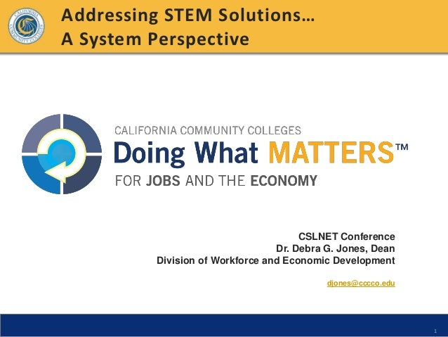 Addressing STEM Solutions…A System Perspective                                      CSLNET Conference                     ...