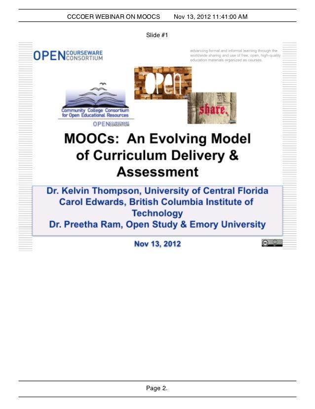 CCCOER WEBINAR ON MOOCS       Nov 13, 2012 11:41:00 AM                   Slide #1                   Page 2.