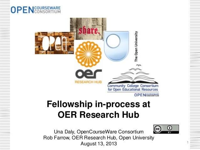 Fellowship in-process at OER Research Hub Una Daly, OpenCourseWare Consortium Rob Farrow, OER Research Hub, Open Universit...