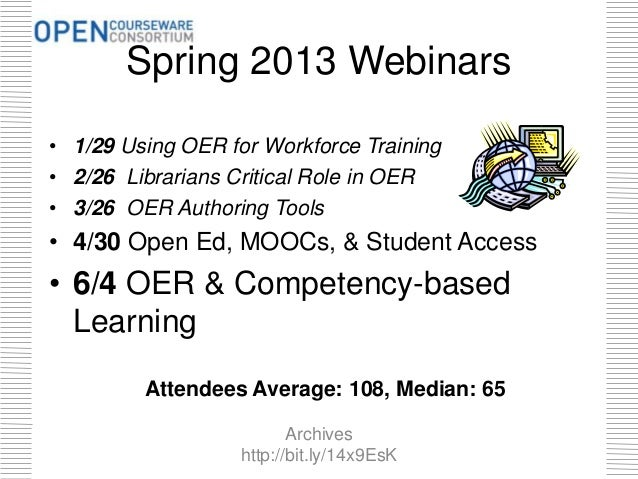 Spring 2013 Webinars • 1/29 Using OER for Workforce Training • 2/26 Librarians Critical Role in OER • 3/26 OER Authoring T...
