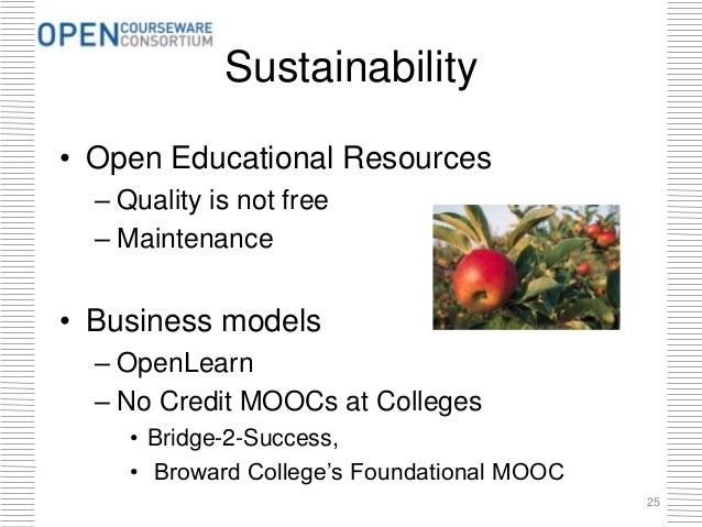 Sustainability • Open Educational Resources – Quality is not free – Maintenance • Business models – OpenLearn – No Credit ...
