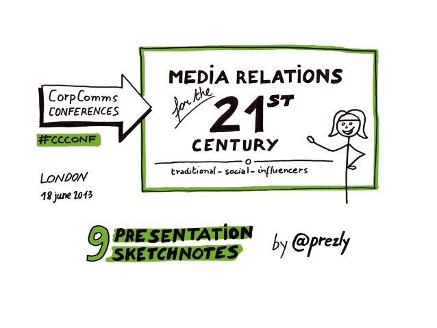 9 sketchnotes on Media relations for the 21th century