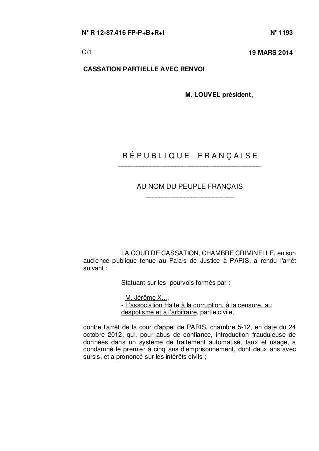 N/ R 12-87.416 FP-P+B+R+I N/ 1193 C/1 19 MARS 2014 CASSATION PARTIELLE AVEC RENVOI M. LOUVEL président, R É P U B L I Q U ...