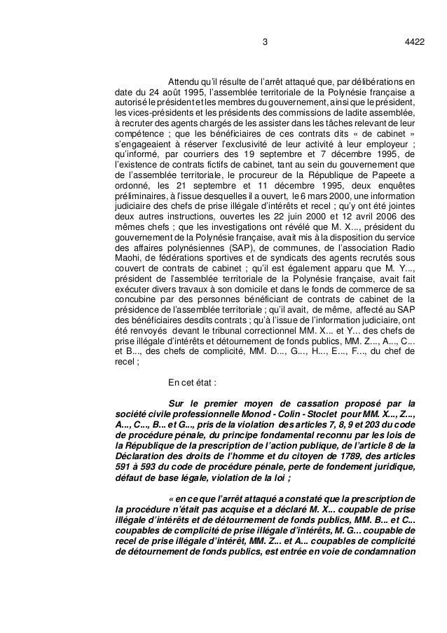 44223 Attendu qu'il résulte de l'arrêt attaqué que, par délibérations en date du 24 août 1995, l'assemblée territoriale de...