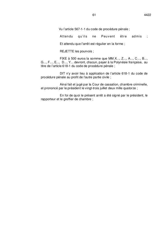 ARRET COUR DE CASSATION 23 JUILLET: GASTON FLOSSE