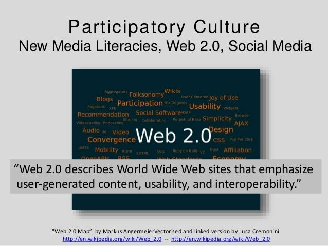 """Participatory Culture New Media Literacies, Web 2.0, Social Media """"Web 2.0 Map"""" by Markus AngermeierVectorised and linked ..."""