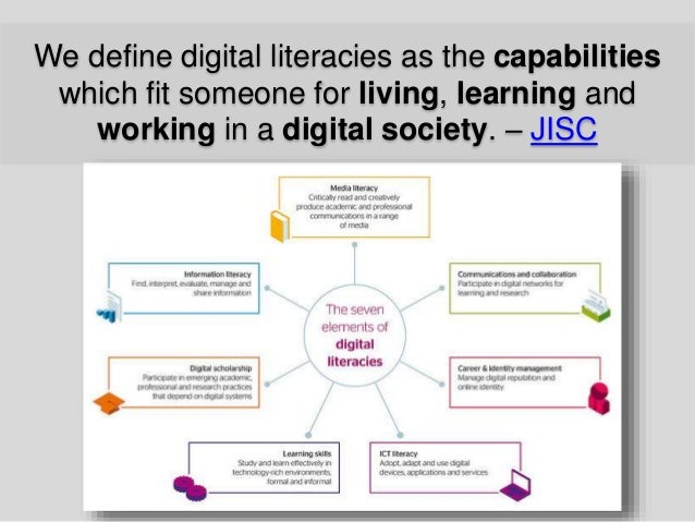 We define digital literacies as the capabilities which fit someone for living, learning and working in a digital society. ...