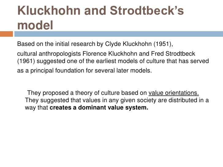 kluckhohn and strodtbeck Clyde km kluckhohn: clyde km kluckhohn, american professor of anthropology at harvard university, who contributed to anthropology in a number of ways: by his.
