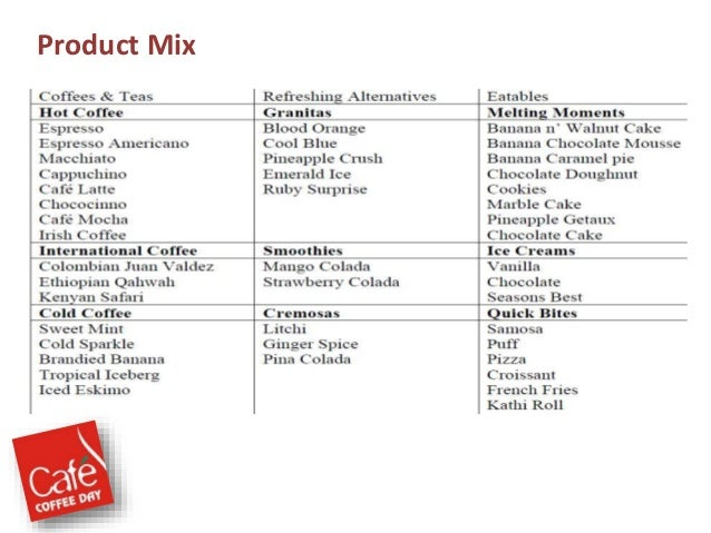 marketing mix cafe coffee day essay Essay about marketing: coffee and starbucks marketing mix paper viktoria mason mkt/421 november 26, 2012 c jeanine fulton marketing mix paper marketing mix is one of the traditional tools used by marketing to achieve its objectives.