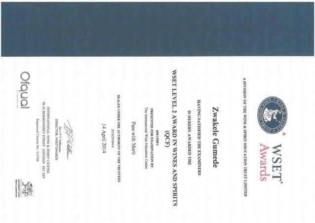 Wset Level 2 Certificate