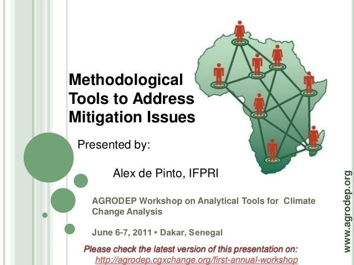 MethodologicalTools to AddressMitigation Issues Presented by:         Alex de Pinto, IFPRI                                ...