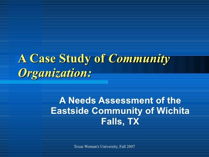 A Case Study of  Community Organization: A Needs Assessment of the Eastside Community of Wichita Falls, TX