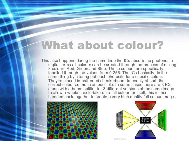 What about colour? <ul><li>This also happens during the same time the ICs absorb the photons. In digital terms all colours...