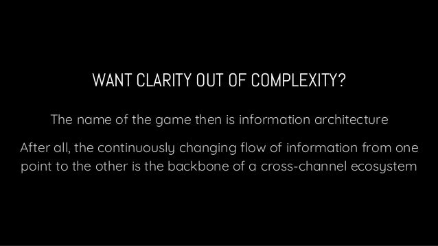 WANT CLARITY OUT OF COMPLEXITY? The name of the game then is information architecture After all, the continuously changing...
