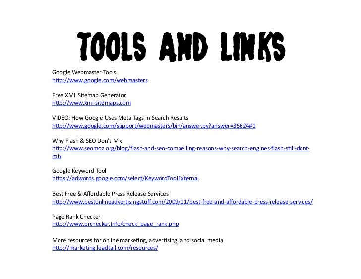 tools and linksgoogle webmaster tools