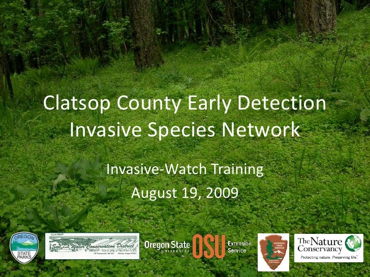 Clatsop County Early Detection Invasive Species Network<br />Invasive-Watch Training<br />August 19, 2009<br />