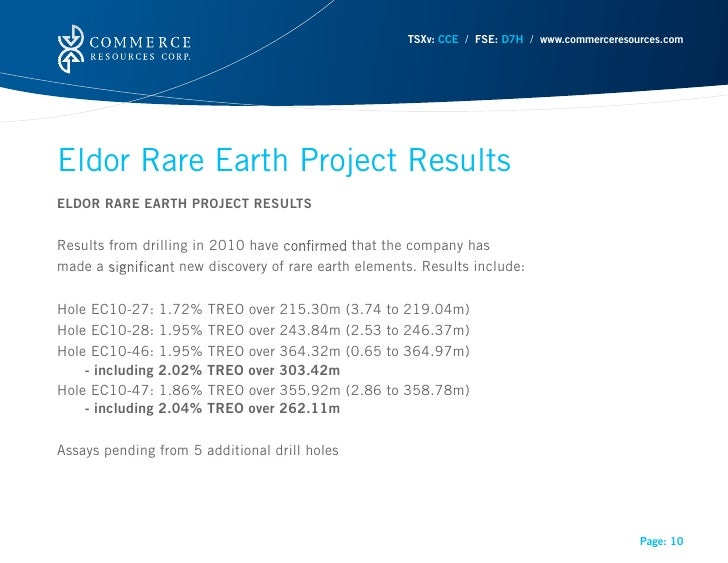 TSXv: CCE / FSE: D7H / www.commerceresources.comEldor Rare Earth Project ResultsELDOR RARE EARTH PROJECT RESULTSResults fr...