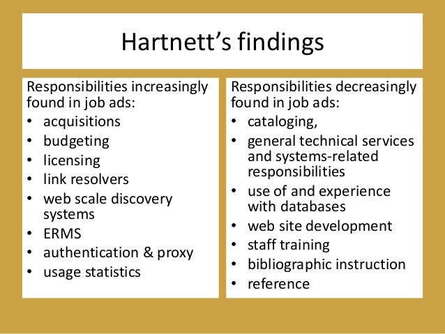 Hartnett's findings Responsibilities increasingly found in job ads: • acquisitions • budgeting • licensing • link resolver...